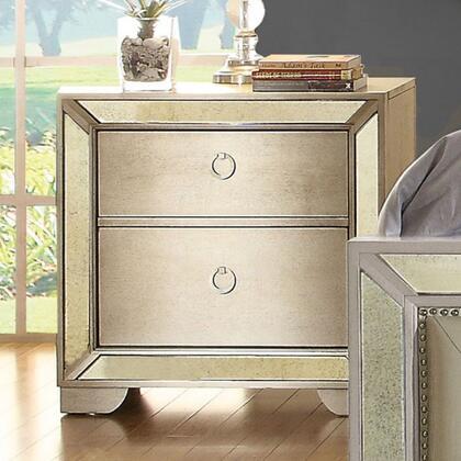 Furniture of America Loraine CM7195N Nightstand Silver, Main Image