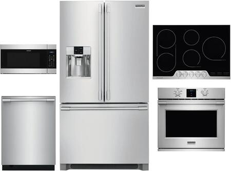 5 Piece Kitchen Appliances Package with 36″ French Door Refrigerator  30″ Electric Single Wall Oven  30″ Electric Cooktop  24″ Built In Microwave and