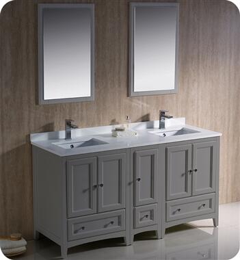Oxford Collection FVN20-241224GR 60″ Grey Traditional Double Sink Bathroom