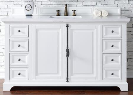 Providence Collection 238-105-V60S-CWH-3CLW 60″ Single Vanity Cabinet  Cottage White  with 3 CM Classic White Quartz Top with