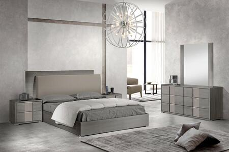 Portofino Collection PORTOF-QNBDM2N-AMGR-42 5-Piece Bedroom Set with Queen Bed  Dresser  Mirror and 2x Nightstands in Anthracite Matte Grey