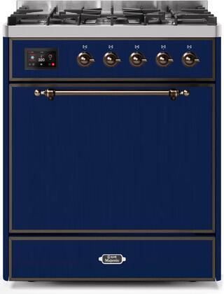 Ilve Majestic II UM30DQNE3MBBLP Freestanding Dual Fuel Range Blue, UM30DQNE3MBBLP-Front-CD-A
