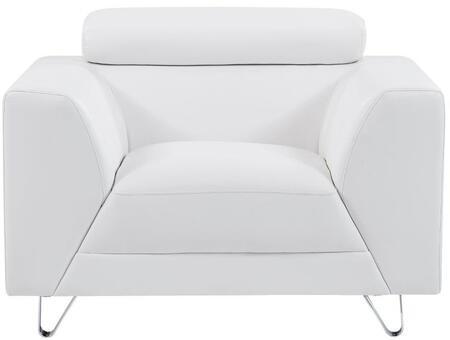 Global Furniture USA U8210 U8210PLUTOWHITECHAIR Living Room Chair White, Main Image