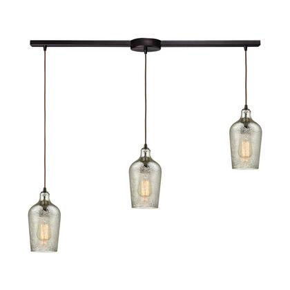 10830/3L Hammered Glass 3 Light Linear Bar Fixture in Oil Rubbed Bronze with Hammered Mercury