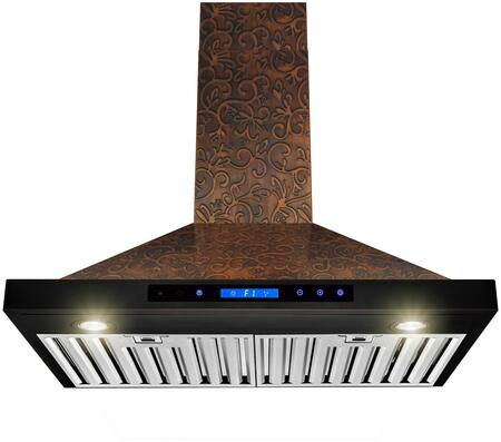 RH0398 30″ Convertible Wall Mount Range Hood with 350 CFM  Halogen Lights  Stainless Steel Baffle Filters and Touch Controls in Embossed