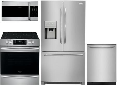 4 Piece Kitchen Appliances Package with FGHB2868TF 36″ French Door Refrigerator  FGEH3047VF 30″ Slide-in Electric Range  FGMV17WNVF 30″ Over The
