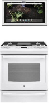 2 Piece Kitchen Appliances Package with JGS760DELWW 30″ Slide-in Gas Range and UVH13014MWM 30″ Under Cabinet Ducted Hood in