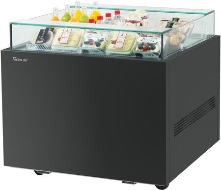 Turbo Air TOS30NNB Display and Merchandising Refrigerator Black, TOS30NNB Angled View