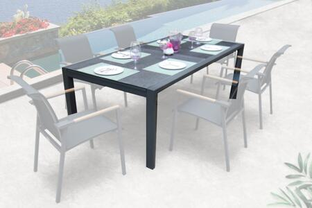 ANew Collection PA03972WPG 72″ Outdoor Dining Table with 9mm Spray Stone Thick Glass Table Top and Weather-Resistant Powder Coated Aluminum Frame in