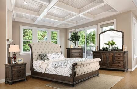 Furniture of America Lysandra CM7663EKBEDSET Bedroom Set Gray, 5 PC Set