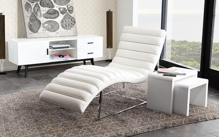 """Bardot_BARDOTCAWH_58""""_Chaise_Lounge_with_Channel_Tufted_Design__Sensuous_Curves__Stainless_Steel_Frame_and_Bonded_Leather_Upholstery_in_White"""