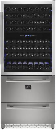 FWCDR6661-30 30″ Capraia Beverage Center with Dual Zone Wine Cooler  2 Drawers  8 Wine Racks and Blue LED Interior Light in Stainless