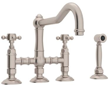 Rohl Italian Country Kitchen A1458XMWSSTN2 Faucet Gray, Satin Nickel