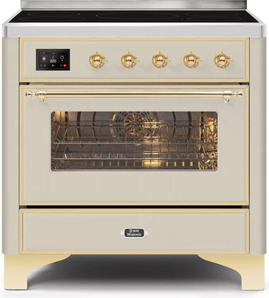 Ilve Majestic II UMI09NS3AWG Freestanding Electric Range Bisque, UMI09NS3AWG-Front-CD-A