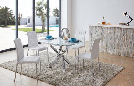 ESF  2396DININGTABLE4SC Dining Room Set White, 2396DININGTABLE4SC