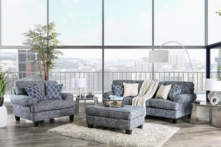 Furniture of America Porth SM80103SFSET Living Room Set Blue, Living Room Set