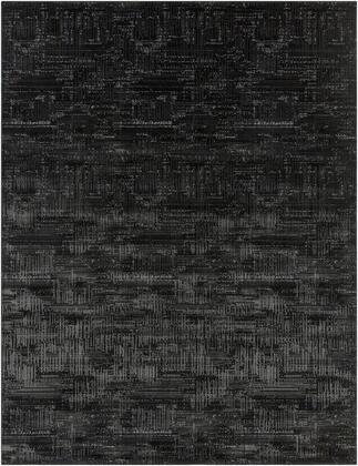"Amadeo ADO-1016 7'10"" x 10'2″ Rectangle Modern Rugs in Black  Light Gray  White  Medium"