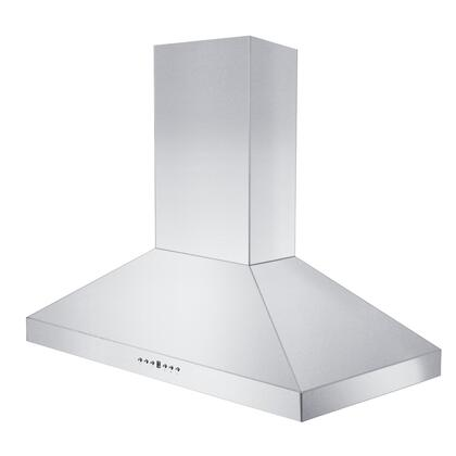 """KL3-36 36"""" Wall Mount Range Hood with 400 CFM 430 Stainless Steel Speed/Timer Panel with LCD and Dishwasher Baffle Filter in"""
