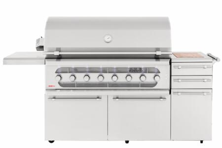 AMG54-NG 54″ American Muscle Freestanding Grill with 14 Gauge #304 Stainless Steel Burners  22000 BTU Main Burners  Spring Assist Double-Lined Hood