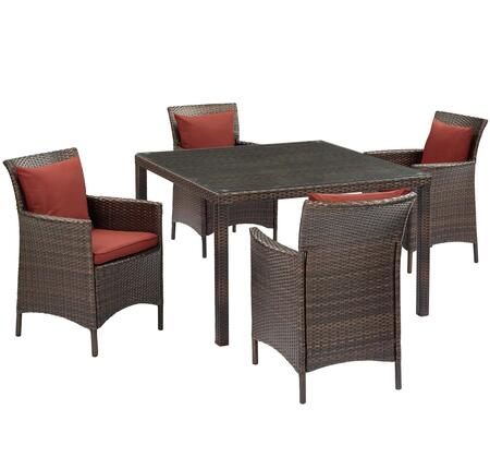 Conduit Collection EEI-3893-BRN-CUR-SET  5 Piece Outdoor Patio Wicker Rattan Set with Powder-Coated Aluminum Frame  Synthetic PE Rattan Weave and