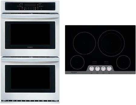 """2 piece Kitchen Appliances Package with FFET2726TS 27"""" Electric Double Wall Oven and FGEC3048US 30"""" Electric Cooktop in Stainless"""