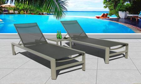 Fine Line Coast Collection GR05703SGB2048A 3 Piece Outdoor Chaise Loung Set with Wheels  Square Shaped Side Table  Powder Coated Aluminum Frame and