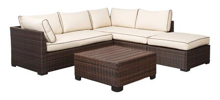 Loughran Collection P300-070 4-Piece Outdoor Patio Set with 2PC Sectional Sofa  Ottoman and Cocktail Table in Beige and