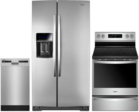 3 Piece Kitchen Appliances Package with WRS973CIDM 36″ Side by Side Refrigerator  WFE775H0HZ 30″ Electric Range and WDF518SAHM 18″ Built In Full