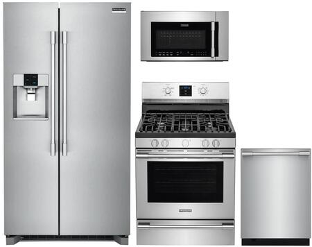 4 Piece Kitchen Appliances Package with FPSC2278UF 36″ Side by Side Refrigerator  FPGF3077QF 30″ Gas Range  FPBM307NTF 30″ Over the Range Microwave