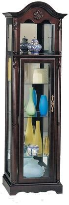 Lindsey Collection 02349 22 Curio with 3 Glass Shelves  6 Tier Display  Mirror Back  Acorn Pediment Top  Light Socket  Power Cord and Solid Wood