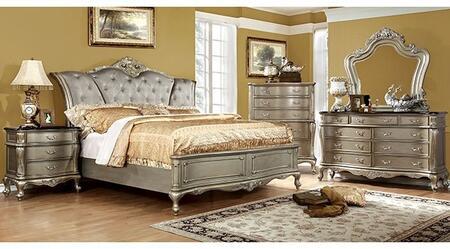 Furniture of America Johara CM7090CKBDMCN Bedroom Set Gold, Main Image