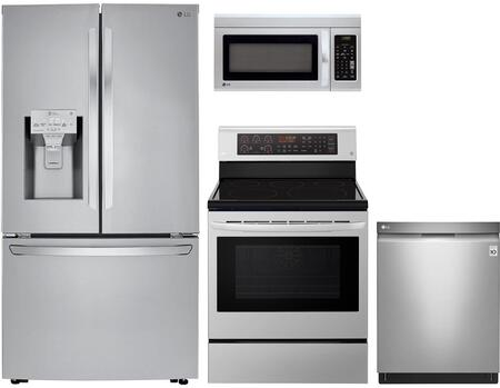 Lg 4 Piece Kitchen Appliances Package With Lrfxc2406s 36 Inch French Door Refrigerator Lre3194st 30 Inch Electric Range Ldp6797st 24 Inch Built In Fully Integrated Dishwasher And Lmv1831st 30 Inch Over The