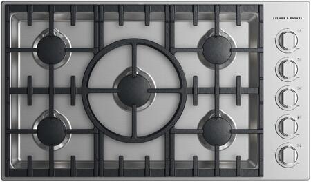 Fisher Paykel CDV2365NN Professional Series 36 Inch Natural Gas Cooktop with 5 Sealed Burners, Cast Iron Grates in Stainless Steel