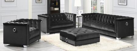 Coaster Chaviano 505395S4 Living Room Set Black, Main Image
