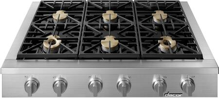 """Dacor  HRTP486SNGH Gas Cooktop Stainless Steel, HRTP486SNGH 48"""" Heritage Series Natural Gas High Altitude Rangetop"""