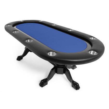 Elite 2BBO-ELT 94″ Sunken Playing Surface Poker Table with Vinyl Armrest  Heritage Pedestal Legs in Black Gloss  10 Player Positions and Stainless