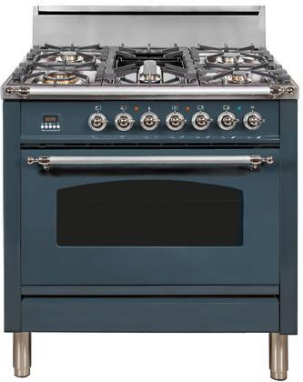 Ilve Nostalgie UPN90FDVGGGUX Freestanding Gas Range Blue, Blue Grey Custom RAL Color