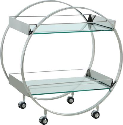3037-TC Contemporary Circular Tea Cart with Glass Shelves and Polished Stainless Steel in Polished Stainless