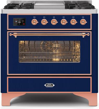 UM09FDNS3MBP 36″ Majestic II Series Dual Fuel Natural Gas Range with 6 Burners and Griddle  3.5 cu. ft. Oven Capacity  TFT Oven Control Display