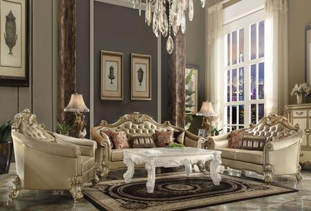 Acme Furniture Vendome II 53120SLC Living Room Set Gold, Living Room Set