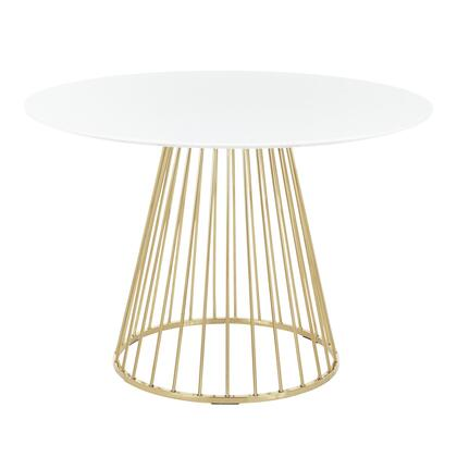 Canary Collection DT-CANARY2AUW Dining Table with Round Wood Top  Contemporary/Glam Style and Cage-Like Gold Tone Metal Base in Gold and White