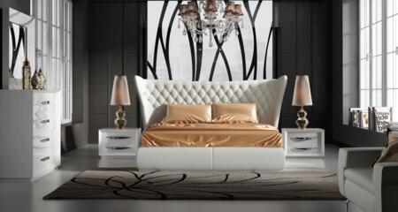 ESF Miami MIAMIBEDQS2NSDRMR Bedroom Set White, MIAMIBEDQS-2NSDRMR