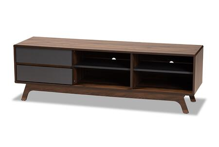 SE TV90780WI-COLUMBIA/DARK GREY-TV STAND Baxton Studio Koji Mid-Century Modern Two-Tone Grey and Walnut Finished Wood 2-Drawer TV