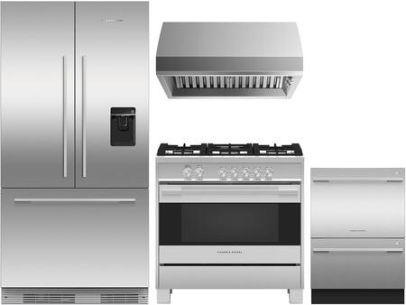 4 Piece Kitchen Appliances Package with RS36A72U1N 36″ French Door Refrigerator  OR36SDG4X1 36″ Gas Range  HCB366N 36″ Wall Mount Ducted Hood and