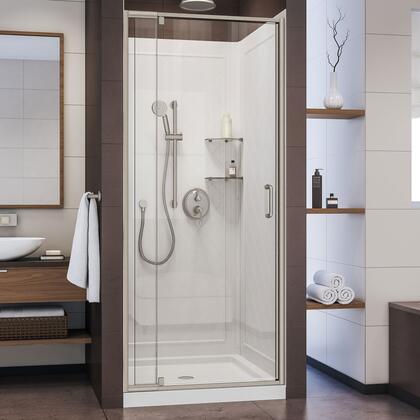 DL-6217C-04CL Flex 32″ D x 32″ W x 76 3/4″ H Semi-Frameless Shower Door in Brushed Nickel with White Base and