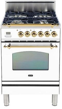 Ilve Nostalgie UPN60DVGGB Freestanding Gas Range White, Main Image