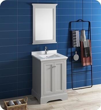 Windsor Collection FVN2424GRV 24″ Grey Textured Traditional Bathroom Vanity with