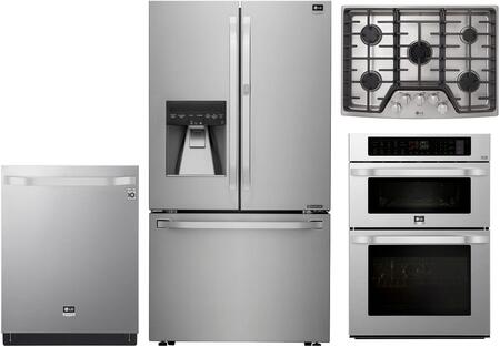 4 Piece Kitchen Appliances Package with LSFXC2476S 36″ French Door Refrigerator  LSWC307ST 30″ Double Wall Steam Oven/Microwave Combo  LSCG307ST 30″