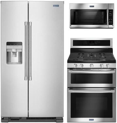 """3 Piece Kitchen Appliances Package with MSS25C4MGZ 36"""" Side by Side Refrigerator MGT8800FZ 30"""" Gas Range and MMV4206FZ 30"""" Over the Range Microwave"""