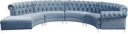 Anabella 697SKYBLU-SEC-4PC 147″ 4-Piece Sectional with Velvet Upholstery  Button Tufting  Nail Head Accents and Acrylic Lucite Legs in Sky